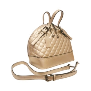 Стильная кожаная стеганая сумка цвета шампань