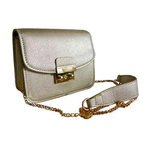 Миниатюрная сумочка-клатч светло-золотистого цвета