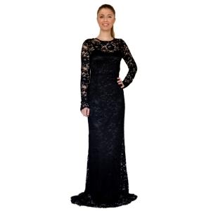 Гипюровое длинное чёрное платье