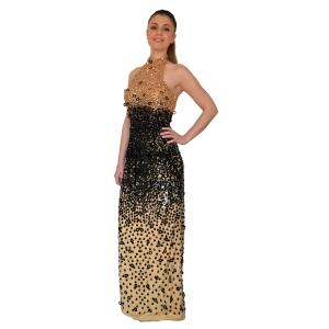 Вечернее золотистое платье вышитое бисером и пайетками