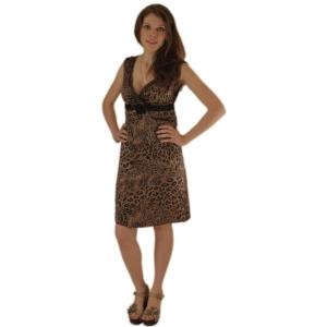 Короткое леопардовое платье с завышенной талией