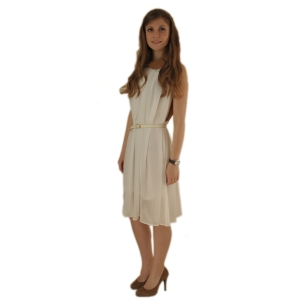 Белое шифоновое платье с контрастной спиной