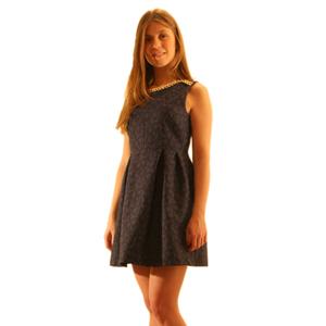 Короткое синее жаккардовое платье