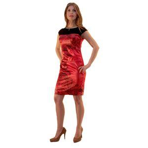 Красное платье с принтом
